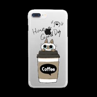のべ子のいい日になるコーヒーB Clear smartphone cases