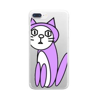 キャッツパープル Clear smartphone cases
