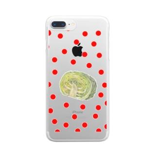キャベツ&ドットⅡ Clear smartphone cases