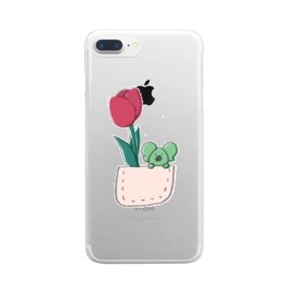 チューリップとコアラ Clear smartphone cases