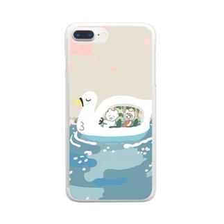 春休みのデート Clear smartphone cases