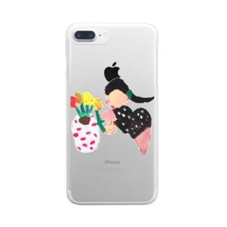 鉢植え中の女性 Clear smartphone cases