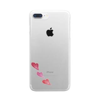 ハート - 水彩 Clear smartphone cases