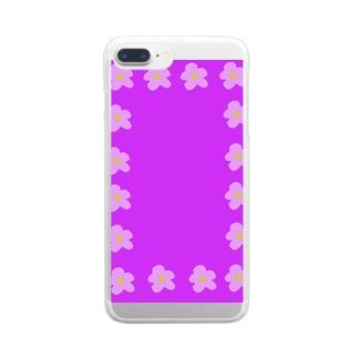 スプリングフラワー柄 Clear smartphone cases
