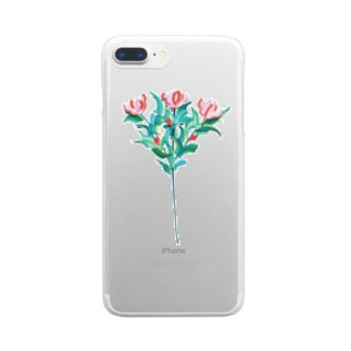 フラワー Clear smartphone cases
