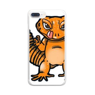 レオパのイラストグッズ Clear smartphone cases