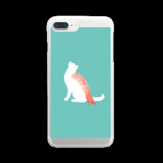 お寿司のネコ寿司(えび) -nekosushi AB- Clear smartphone cases