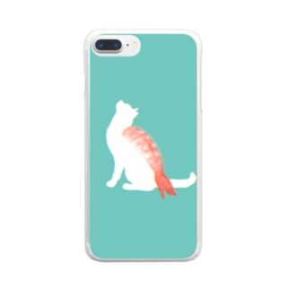 ネコ寿司(えび) -nekosushi AB- Clear smartphone cases