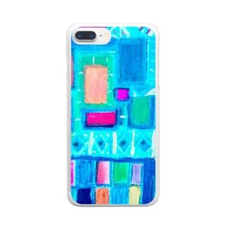 ターコイズスクエア Clear smartphone cases