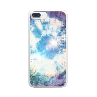 絞り★ブルーパープルプラス Clear smartphone cases