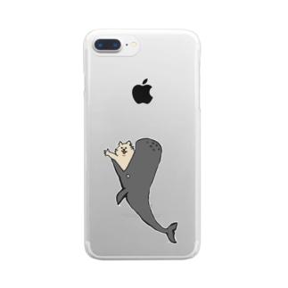 鯨からこんにちは猫 Clear smartphone cases