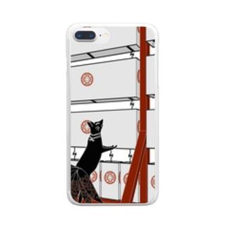 黒九尾の狐火 提灯 Clear smartphone cases
