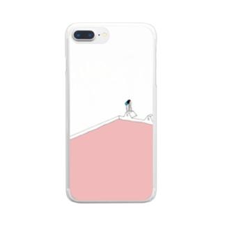 夏のピンクプール Clear smartphone cases