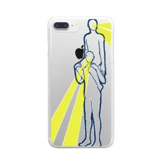 目からビームで肩車 Clear smartphone cases