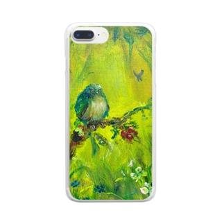 ムラナギ/青い鳥と赤い実のある森の入口 クリアスマートフォンケース