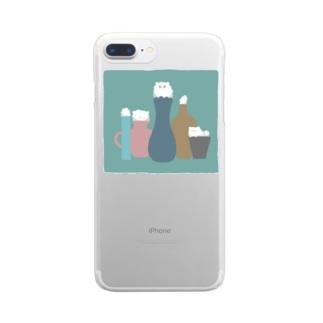 壺とねこ Clear smartphone cases