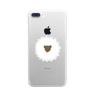 レースくま Clear smartphone cases