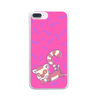 寝そべりワオキツネザル Clear smartphone cases