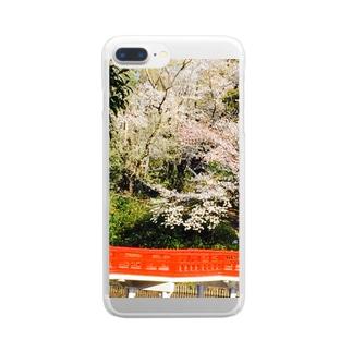 日本の桜の風景 Clear smartphone cases