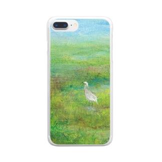 ムラナギ/白鷺 Clear smartphone cases