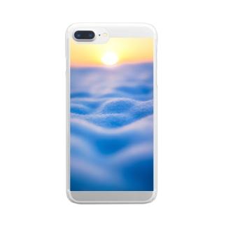 雪の雲海 Clear smartphone cases