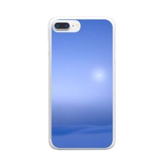 霧の雪原 Clear smartphone cases