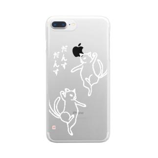 【白】阿吽だんすだんす Clear smartphone cases