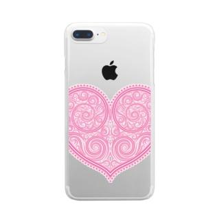 ゴージャスなアクセサリーのようなピンクのハートマーク Clear smartphone cases