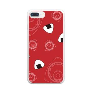 回れ焼きおにぎり 赤色 Clear smartphone cases