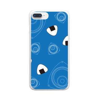 回れ焼きおにぎり 青色 Clear smartphone cases