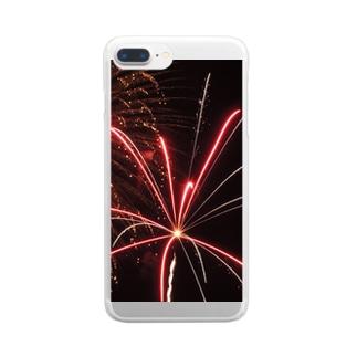 ハワイの花火・画像① Clear smartphone cases