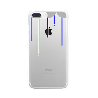 nyoroの雨の日(青) Clear smartphone cases