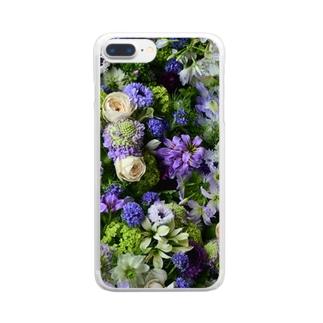 ジャルダンブルー Clear smartphone cases