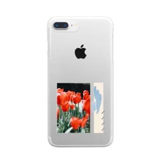 赤チューリップ Clear smartphone cases