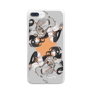 ねこがーる Clear smartphone cases