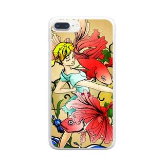スマホケース(金魚) Clear smartphone cases