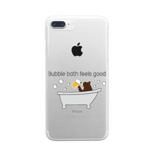 ビールベアー イン バブルバス Clear smartphone cases