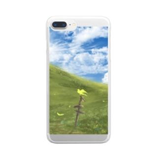 黄色の鳥と丘 Clear smartphone cases
