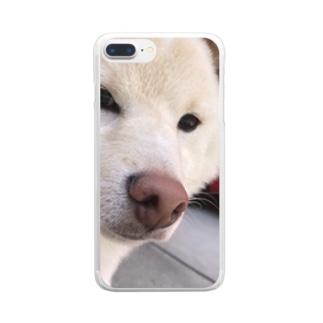 キリッとしたらんまるくん Clear smartphone cases
