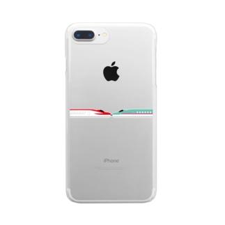 新幹線 こまちはやぶさ連結 Clear smartphone cases