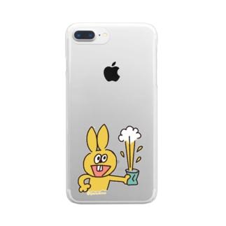 ラビやんと缶 Clear smartphone cases