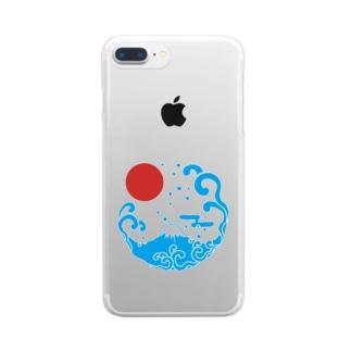 富士山・波 Clear smartphone cases