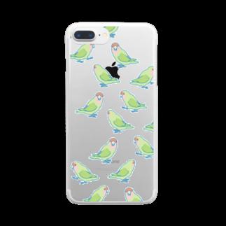 インコグッズ屋の歩きコザクラインコ Clear smartphone cases