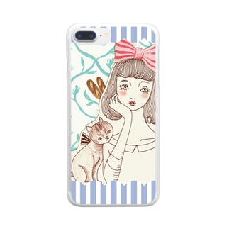 頬杖ガール  Clear smartphone cases