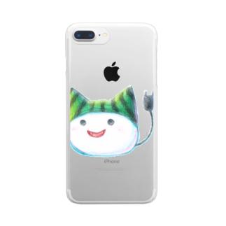 スイカ帽子ねこさん Clear smartphone cases