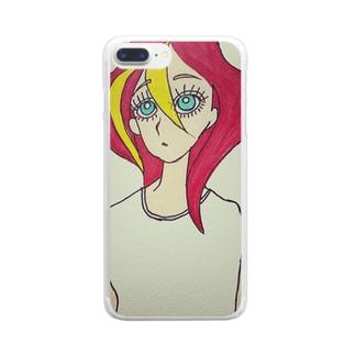 赤い髪の女の子 Clear smartphone cases