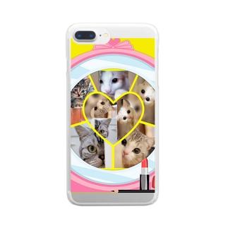 覗き見ニャンコ(みんな友達) Clear smartphone cases