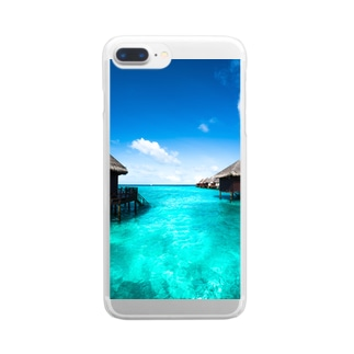 エメラルドグリーンのコテージ Clear smartphone cases