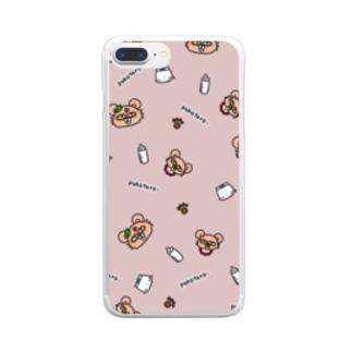 ぽこたろーpink Clear smartphone cases