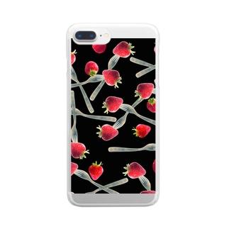 フォークで刺した苺 Clear smartphone cases